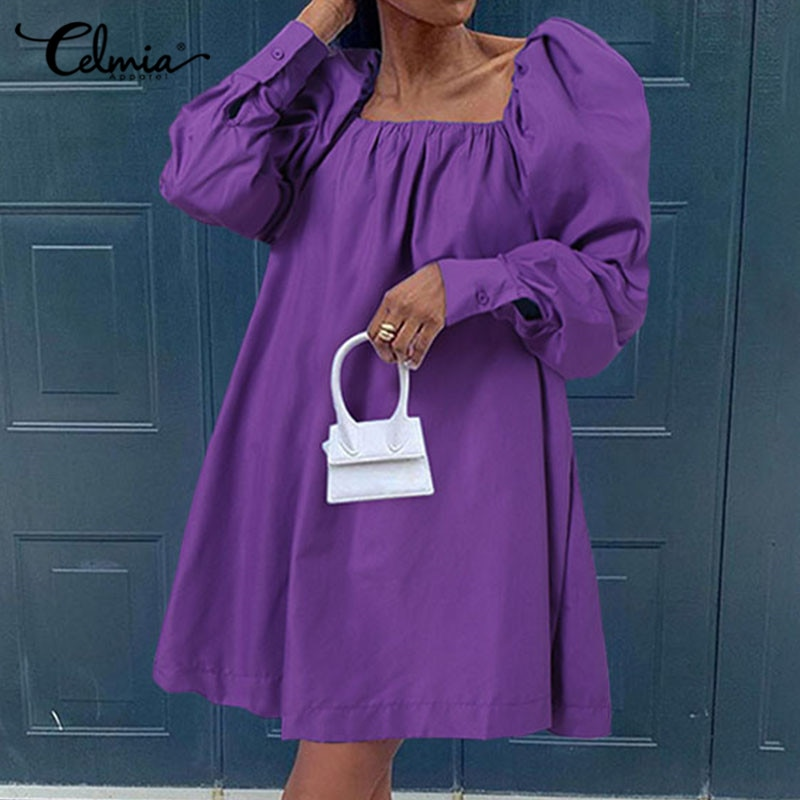 AliExpress - Celmia Sexy Square Collar Mini Dress Women Elegant Puff Sleeve Vestidos 2021 Spring Casual Solid Ladies Party Fashion Sundress