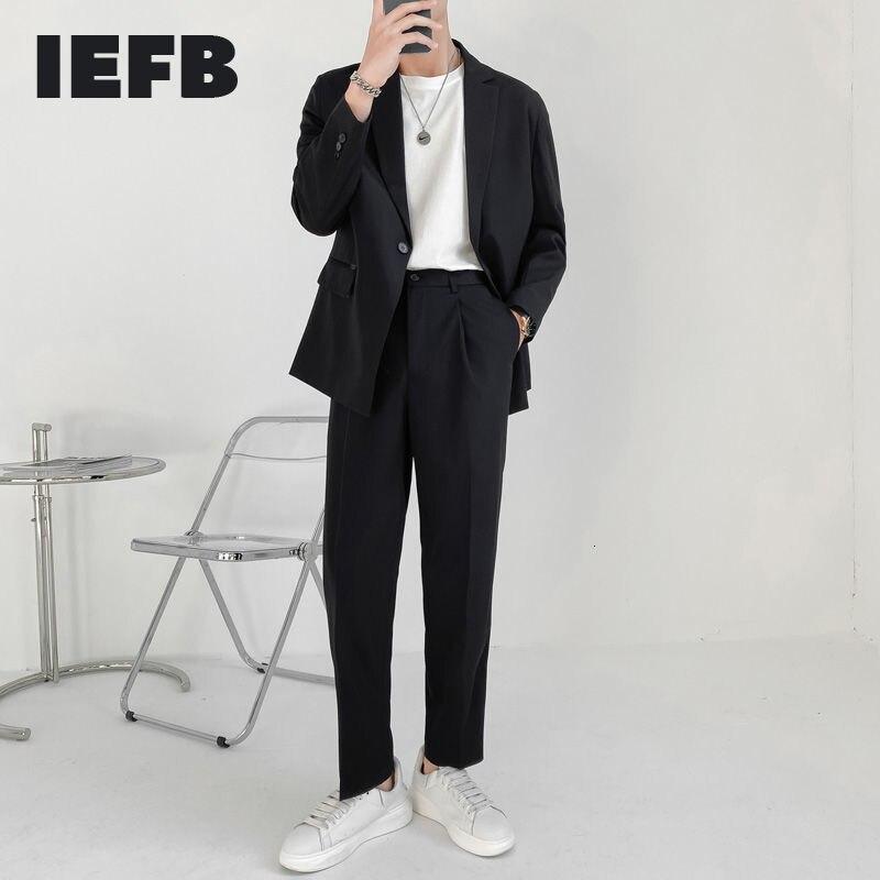 IEFB جودة عالية جديد الخريف ضوء بسيط ناضجة فضفاضة الرجال قطعتين مجموعة طويلة الأكمام زر واحد دعوى سترة + السراويل المستقيمة