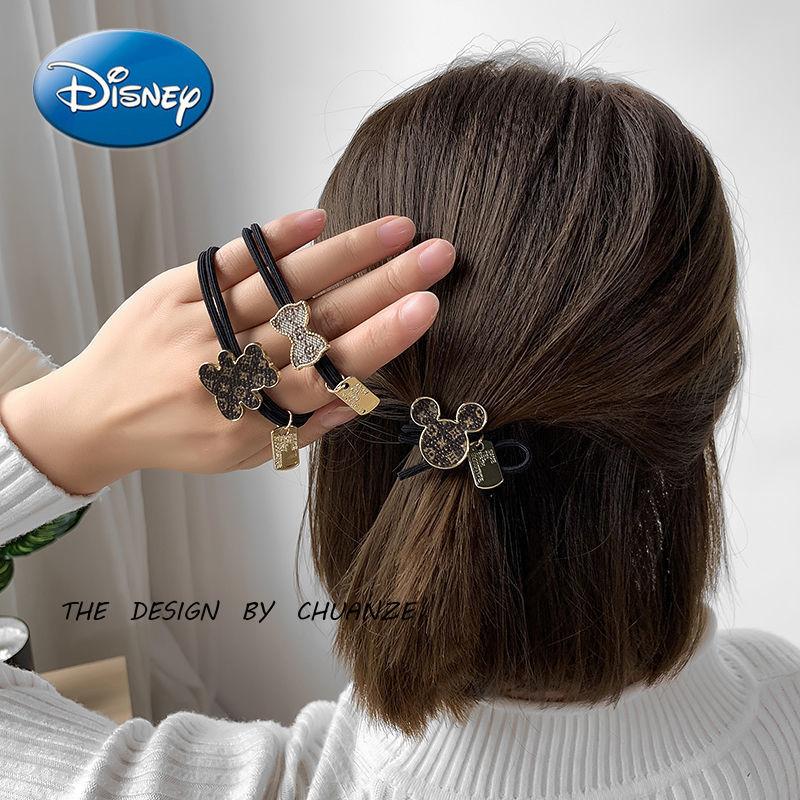 Disney Mickey Mouse Hair Accessories Lolita Head Rope Ball Head Rubber Band Hair Tie Retro Hair Rope Headdress Female 4PCS