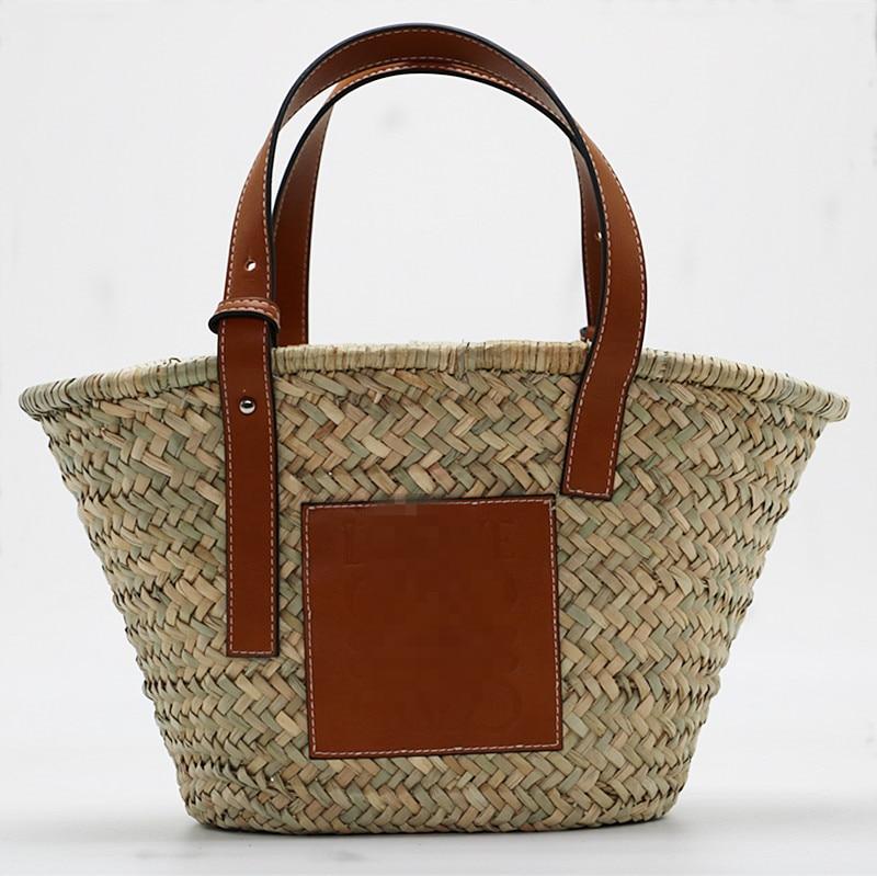 High-Capacity Straw Women Bag Summer Rattan Shoulder Handbags Handmade Woven Beach Bags New Lady Travel Bohemia Shipping Bag