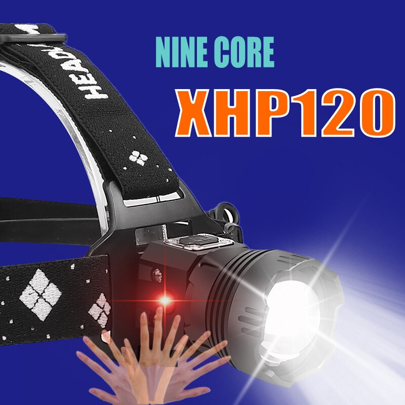 1000000lm xhp120 poderosa lanterna farol xhp110 usb lanterna xhp50 farol recarregável 5200mah cabeça de indução luz da tocha