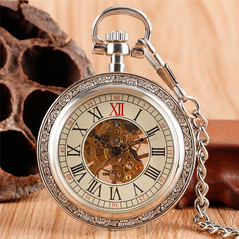 Silver Antique Watch Men Women Skeleton Handwinding Mechanical Pocket Watches Roman Number Dial 30Cm Fob Chain Relogio De Bolso