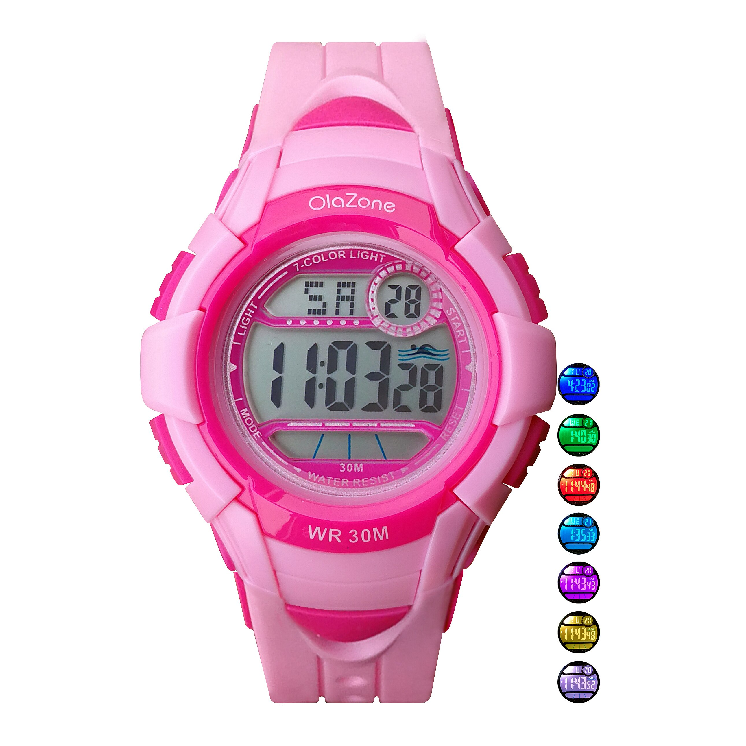 Kids Watches Girls Digital 7-Color Flashing Light Water Resistant 100FT Alarm Gifts for Children's Watches Age 7-10 Years Old