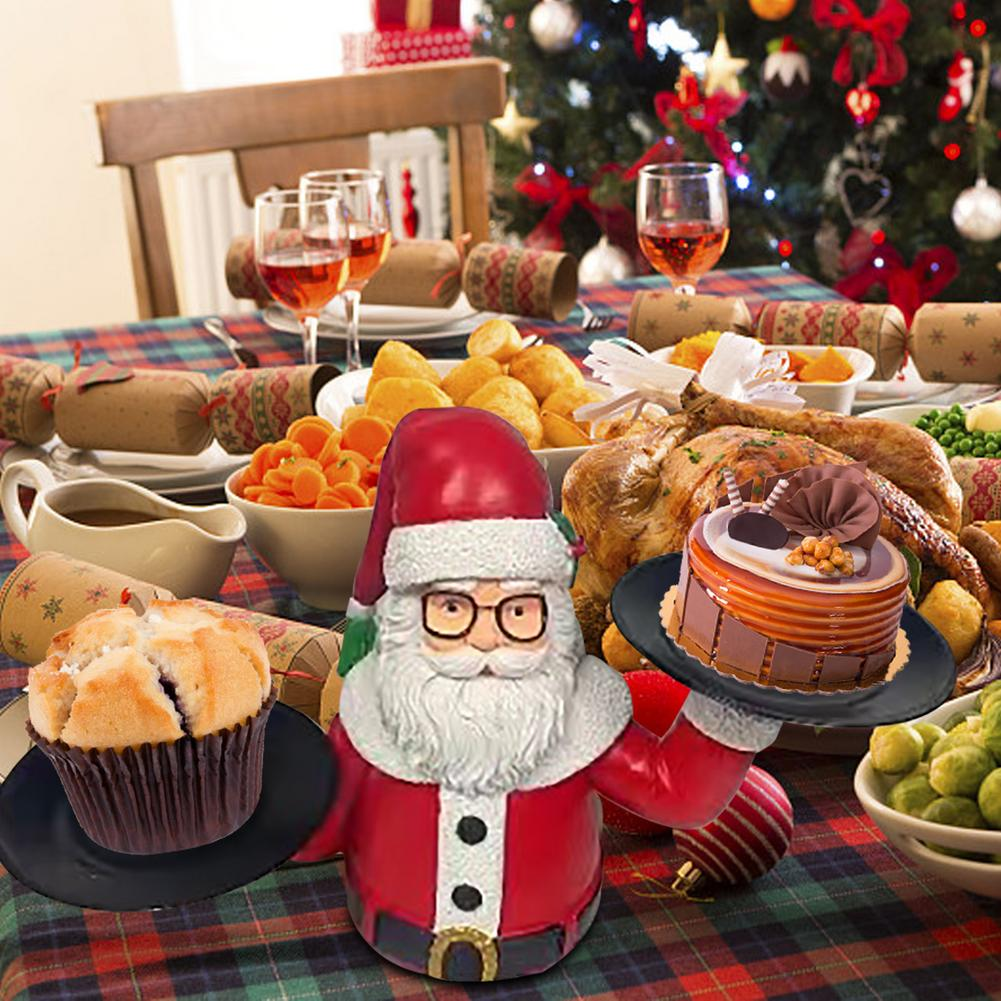 2 طبقة شجرة عيد الميلاد وجبة خفيفة حامل الإبداعية الراتنج سانتا وجبة خفيفة الرف ل الشاي حفل زفاف عيد الميلاد رقاقة فنجر الغذاء العرض