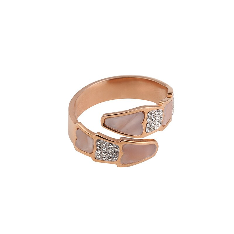 18KGP Color oro rosa serpiente Fritillaria CZ Zirconia anillos abiertos mujeres moda 316L joyería de acero inoxidable no se desvanece (KGR002)