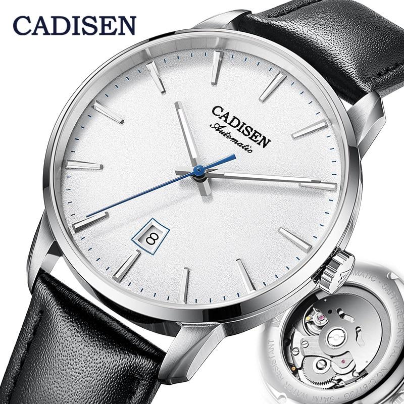 CADISEN ساعة ميكانيكية الرجال العلامة التجارية الفاخرة مضيئة الفولاذ المقاوم للصدأ الأعمال المعصم الرجال ساعات أوتوماتيكية NH35A اليابان حركة