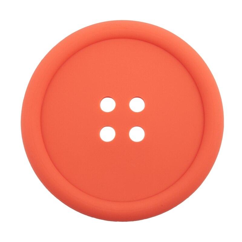 Big Button Silicone Coaster Fun Novelty Design Kitsch Retro Drinks Placemat - Orange