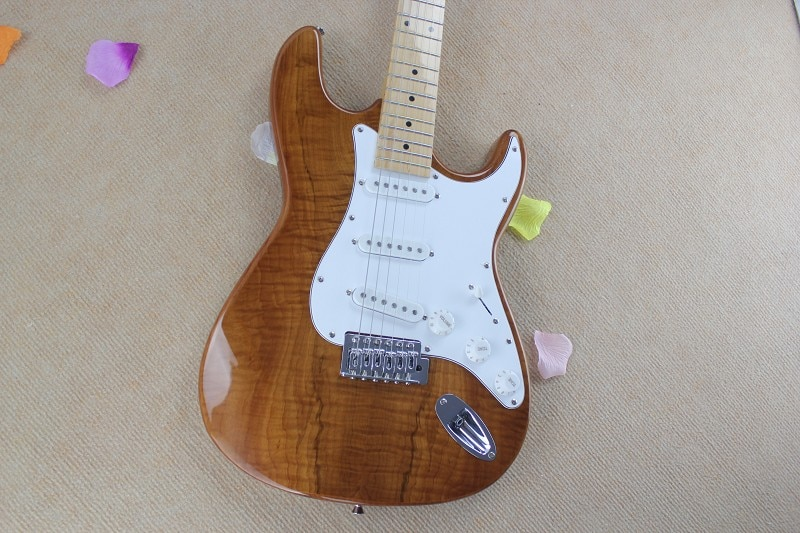 Guitarra personalizado de fábrica de alta calidad nueva madera Natural Color st guitarra eléctrica Natural Arce chapa 6 15