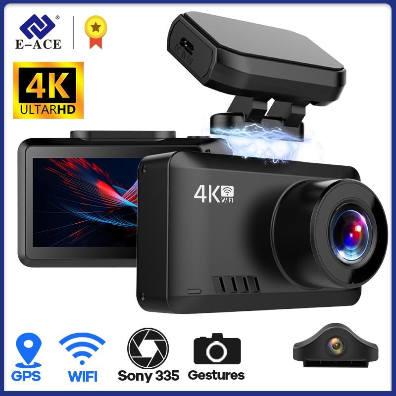 E-ACE B44 4K داش كاميرا السيارة مزودة بجهاز تسجيل فيديو مسجل فيديو الترا HD 2160P غس المسار واي فاي للرؤية الليلية داشكام دعم 1080P كاميرا خلفية