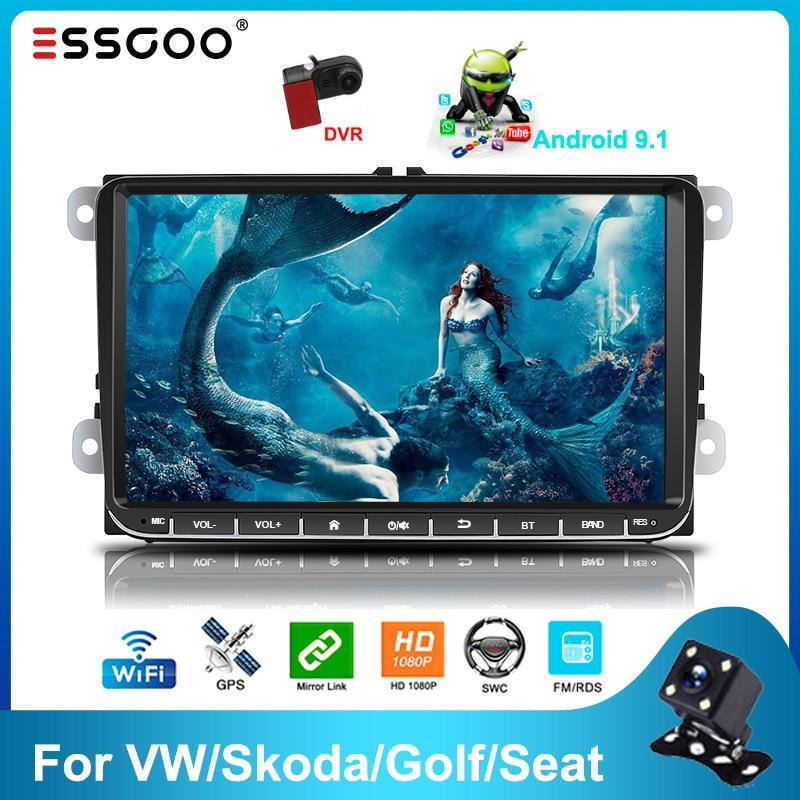 Essgoo 9 ''أندرويد 9.1 2din راديو السيارة بلوتوث 2GB/1GB RDS AM DAB Autoradio لتحديد المواقع والملاحة واي فاي مشغل وسائط متعددة لشركة فولكس فاجن/Goft