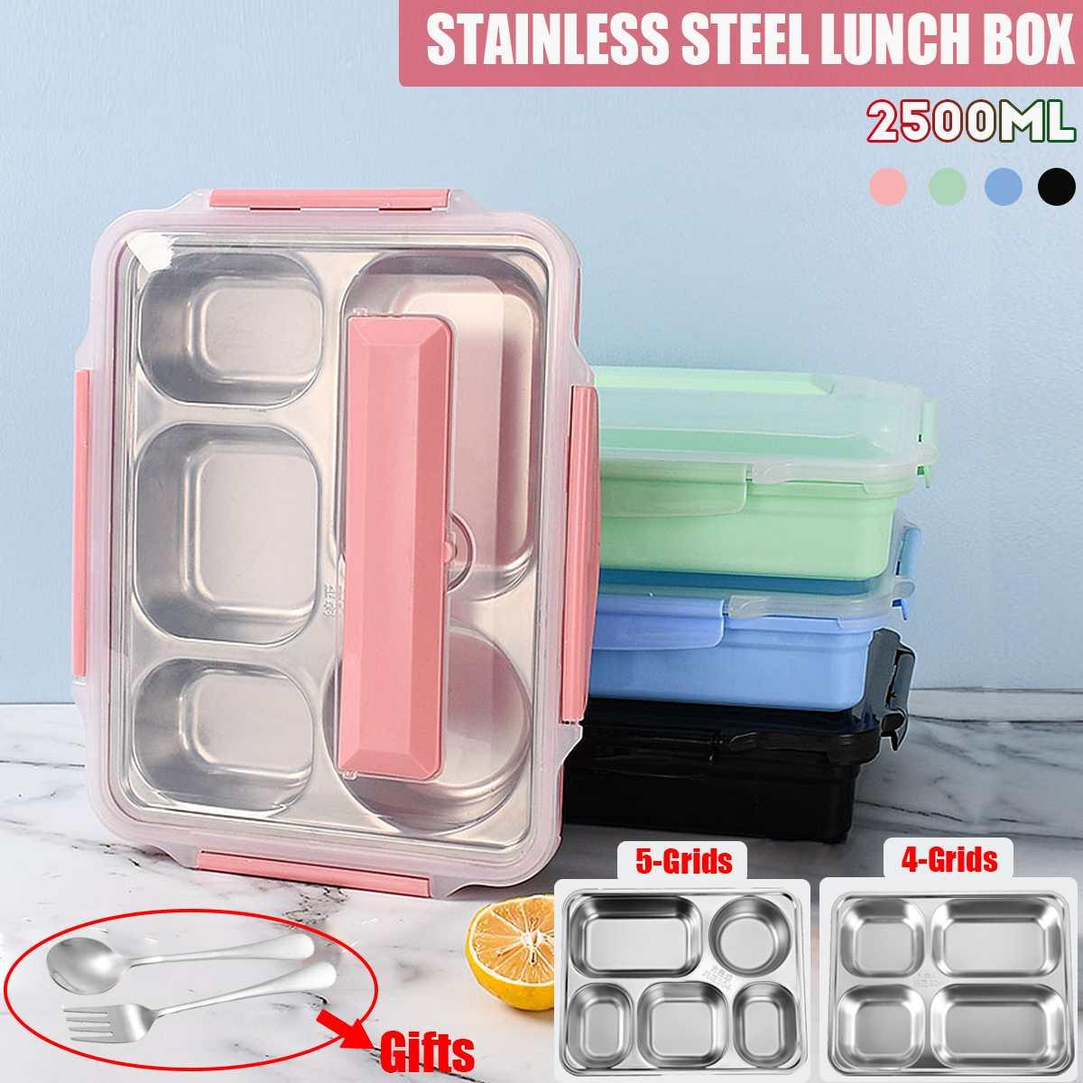 صندوق غداء بينتو محمول من الفولاذ المقاوم للصدأ مع حجرة طعام 4/5 ، صندوق غداء للمدرسة والمكتب