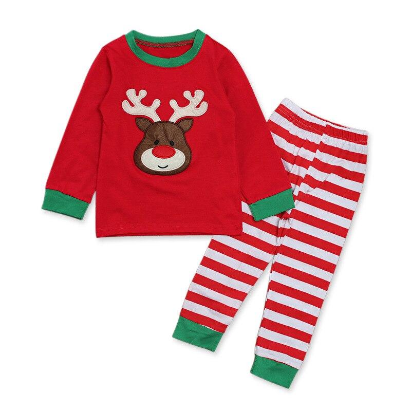 Новинка 2020 осенняя одежда для девочек возрастом от 1 года до 6 лет, Рождественская туника с длинным рукавом, с длинными рукавами, топ с изображением лося + брюки с полосками комплект из 2 предметов, повседневный детский зимний костюм|Комплекты пижам| | АлиЭкспресс