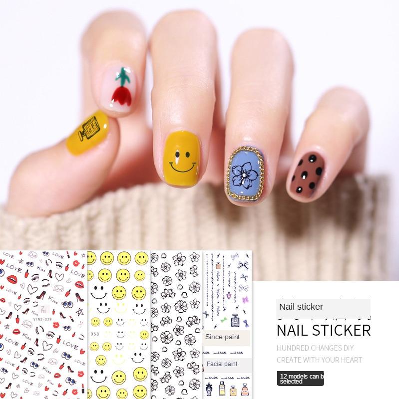 3D наклейки для ногтей Цветочные буквы смайлик любовь красные губы дизайн ногтей орнамент дизайн ногтей модные маникюрные наклейки ae029