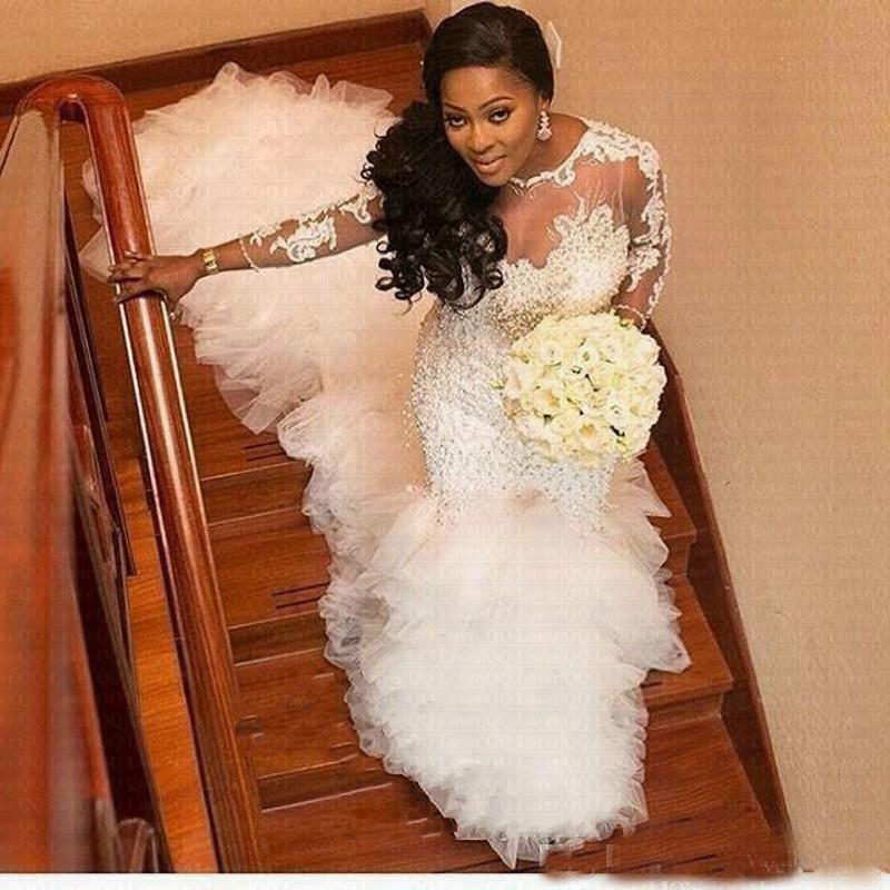 Heavy Pearls Handwork Beading Luxury Train African Mermard Wedding Dresses Long Sleeve Lace Appliques Lace Wedding Dress