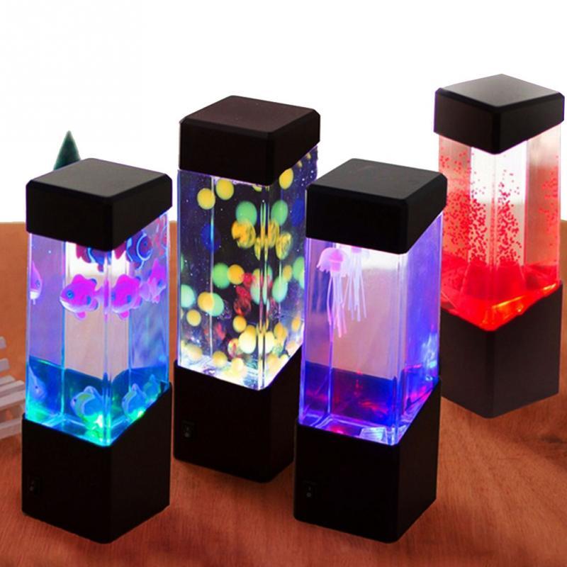 مصباح Led مع ضوء متغير اللون على شكل حوض أسماك قنديل البحر ، إضاءة مزاجية كهربائية لحوض السمك ، تركيبات إضاءة مزاجية ، مثالية لغرفة الطفل ، أو ك...