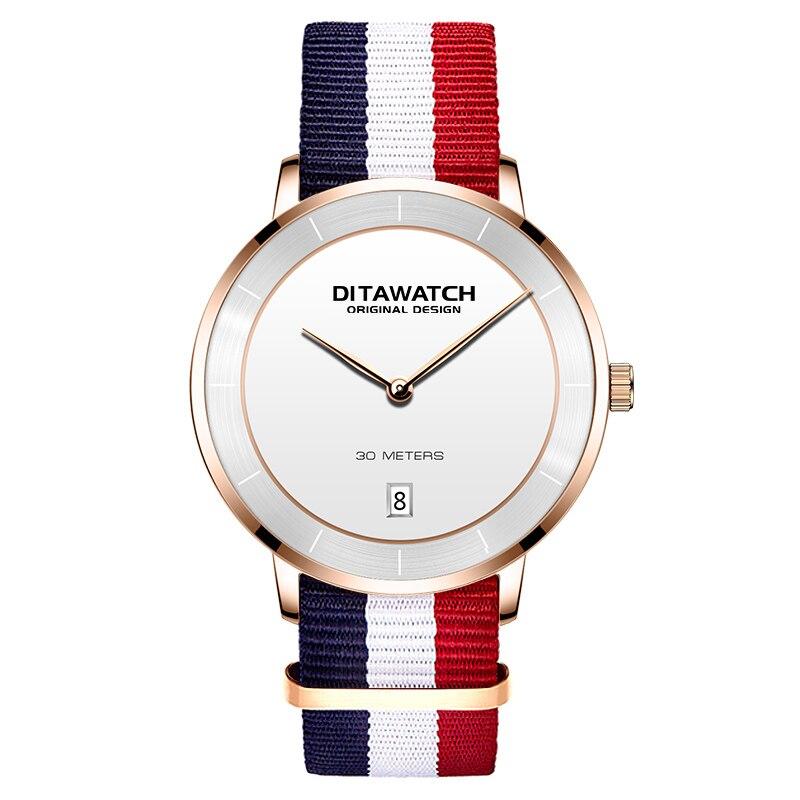 Feminino simples relógio de quartzo moda casual elegante banda de náilon calendário completo à prova dwaterproof água