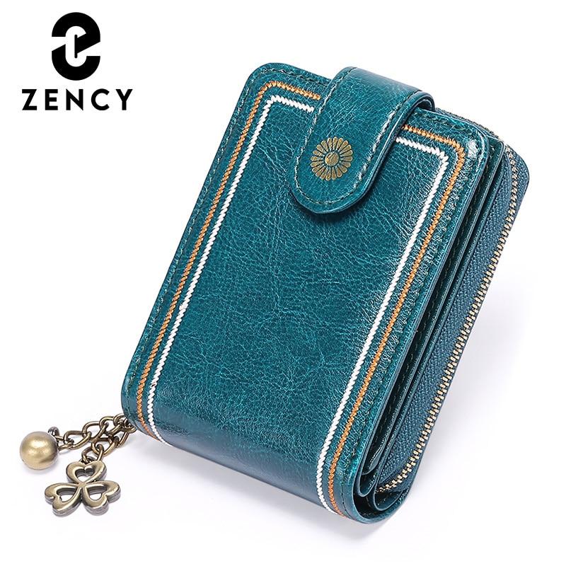 Zcy-محفظة بطاقات قصيرة متعددة الوظائف للنساء ، نمط جديد ، جلد طبيعي ناعم ، سعة كبيرة ، حامل ائتمان