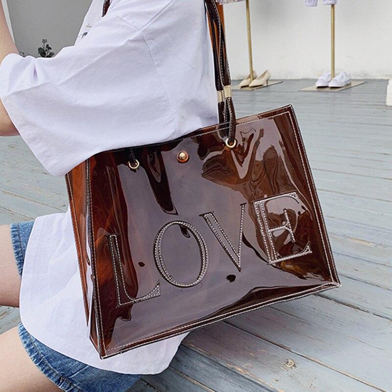 Ansloth Letter Transparent Handbag Jelly Shoulder Bag Women's Tote Bag Waterproof Beach Bag PVC Transparent Bag For Women HPS889