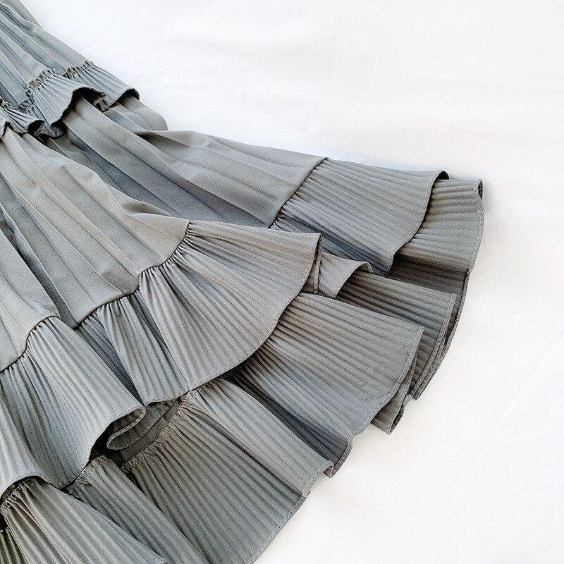 2020 Fashion Spring Pleated Skirt Quality High Waist Women A-Line Irregular Hem Midi Skirts Black Saia Faldas Jupe Femme