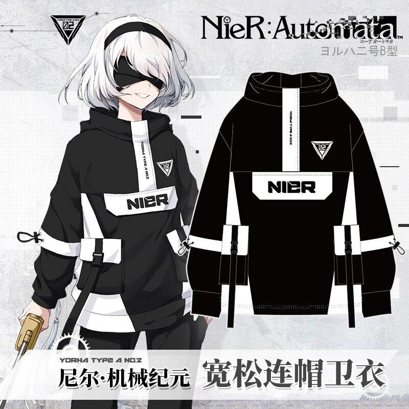 أنيمي NieR:Automata YoRHa نوع 2B موضة فضفاضة مقنعين معطف هوديي البلوز الرجال النساء Harajuku طالب البلوز قمم تأثيري