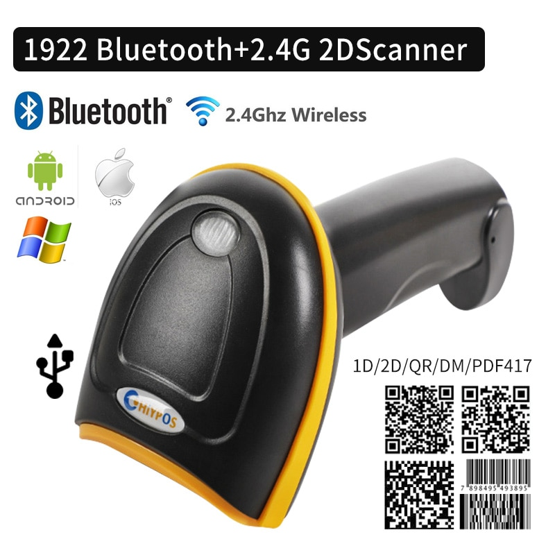 CHIYI 1D/2D قارئ الباركود QR PDF417 2.4G اللاسلكية/السلكية المحمولة الباركود الماسح الضوئي USB دعم الهاتف المحمول باد