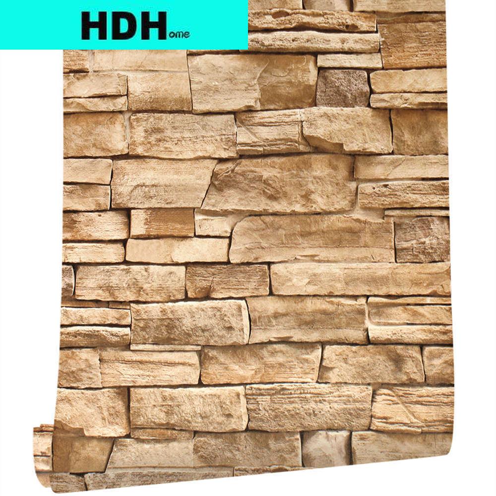 Самоклеящаяся Съемная настенная бумага с коричневым камнем, водонепроницаемая контактная бумага для кухни, домашний декор
