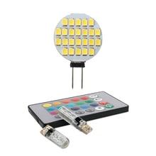 1x G4 ampoule Spot lampe ampoule 12V DC 24 LED & 2 pièces T10 5050 6SMD RGB LED Multi couleur lumière voiture cale automobile ampoules