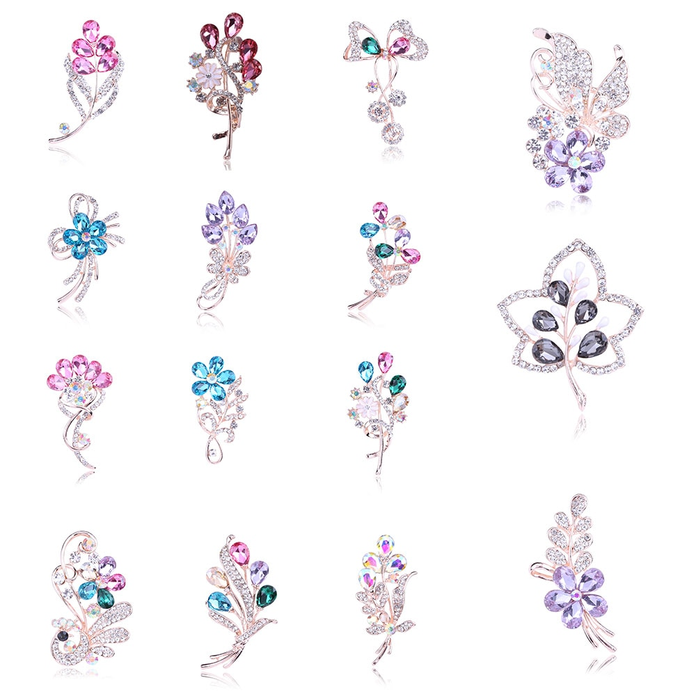 Japón y el Sur moda de Corea elegante Diamante de imitación de cristal broche Cardigan ropa bufanda fijo Pin flor broche de mariposa
