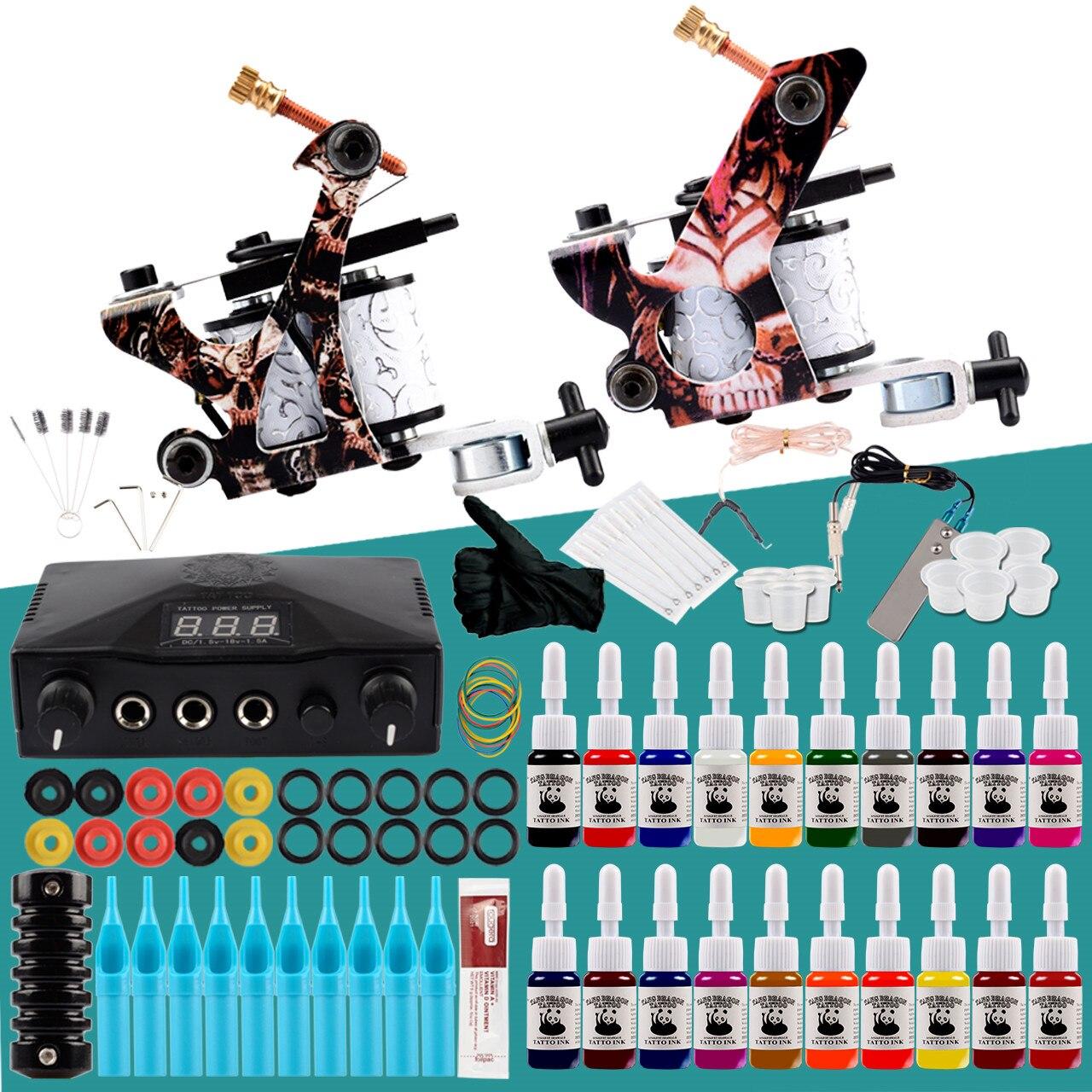 Professionelle Tattoo Kit 2 Tattoo Maschinen Set Permanent Tinten Pigment LCD Power Tattoo Ausrüstung Make-Up Kunst Komplette Tattoo Set