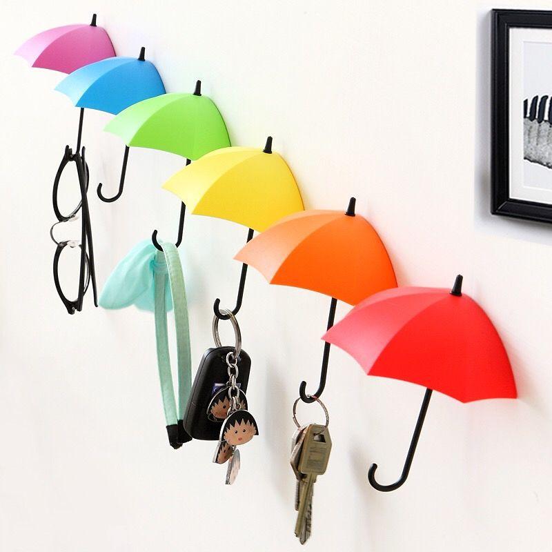 Cangkuk payung tanpa tanda tanpa penggerudian, cangkuk pelekat diri untuk dinding dan pintu, penyangkut pakaian, cangkuk kunci, rak melekit bilik mandi dan dapur