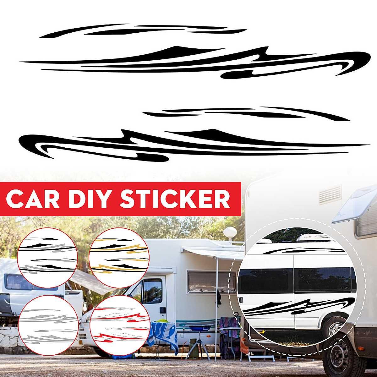 Coche rayas laterales RV Motorhome rayas largas gráficos pegatina DIY calcomanías para...