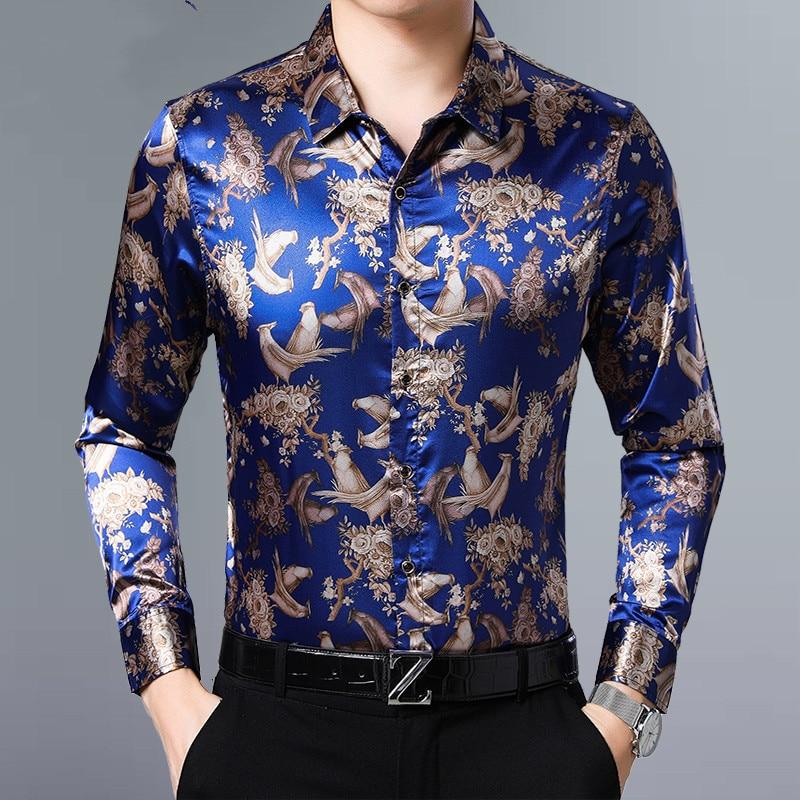 Floral impreso camisas para hombre elástico camisas de seda Camisas manga larga Mens Plus tamaño azul oscuro hombres ropa 2020 flores vestido de fiesta