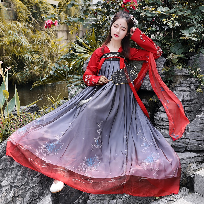 زي هانفو الصيني للأميرة الجنية القديمة ، زي تانغ التقليدي ، زي أداء مسرحي ، فستان نسائي 90