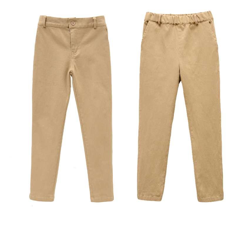 Детские хлопковые брюки для мальчиков, эластичные черные школьные длинные штаны цвета хаки на весну и осень, одежда для детей 8, 10, 12, 14, 15 лет