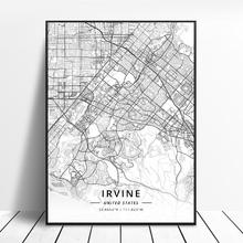 Eugene Fremont Hialeah Huntington Beach Irvine Winston-Salem Unitedstates Map Canvas Art Poster