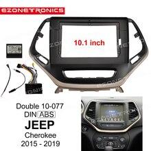 Adaptateur de montage Audio panneau Facia   Cadre CD DVD de voiture 2/1DIN panneau Facia 10.1 pouces pour JEEP Cherokee 2015 16 17 18 19Din