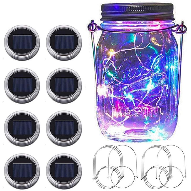 Nuevo frasco Mason solar luces 8 Uds 20 LED de jardín de hadas de la tapa de tarro de luces de cadena con (No tarros) estrellada Firefly Kit de luces