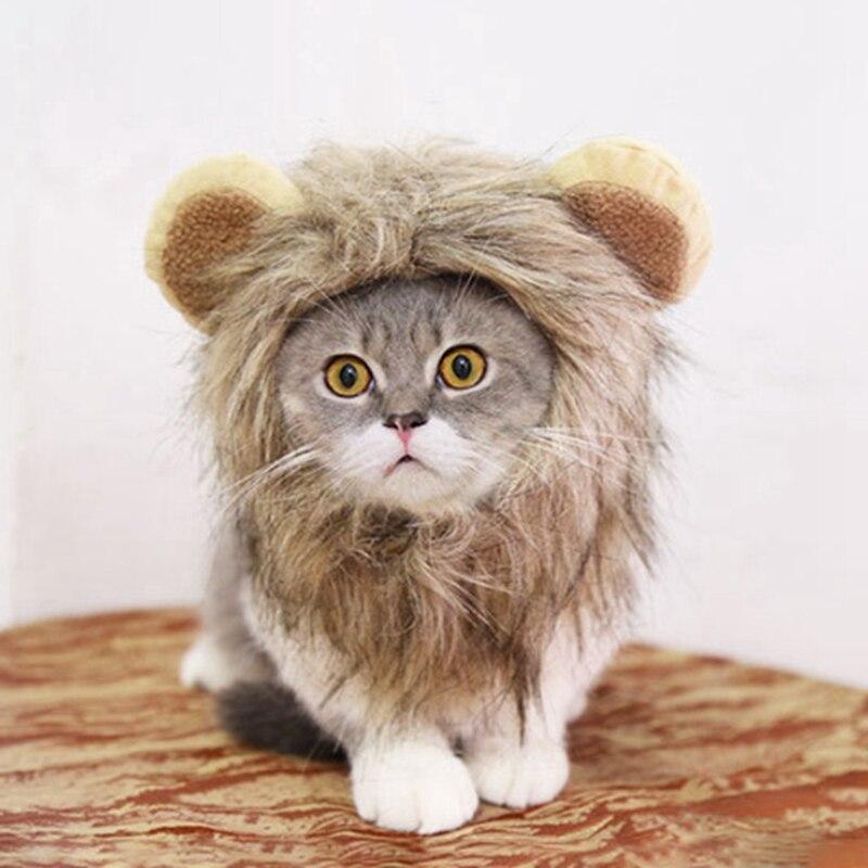 Хэллоуин Забавный милый костюм для домашних животных Косплей льва грива парик шапка шляпа для кошки Рождественская одежда нарядное платье с ушками для домашних собак и котов продукт