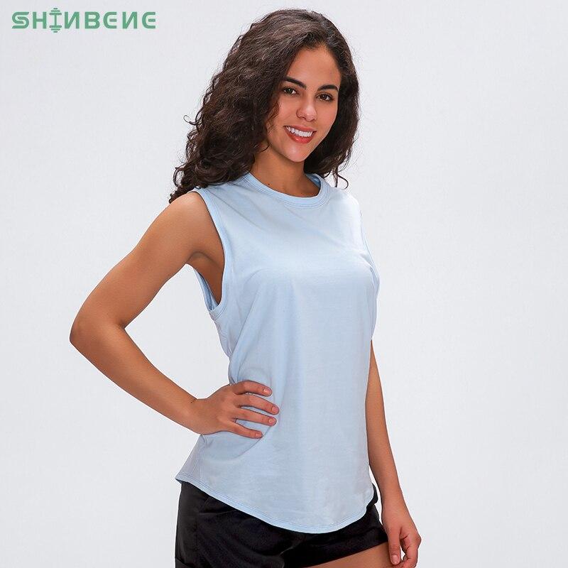 Shinbeno, algodón Anti-sudor, ejercicio liso, camisetas sin mangas de Yoga, chaleco para mujeres, largo de la cadera, suelto, Fit, Running, Fitness, gimnasio, camisetas sin mangas