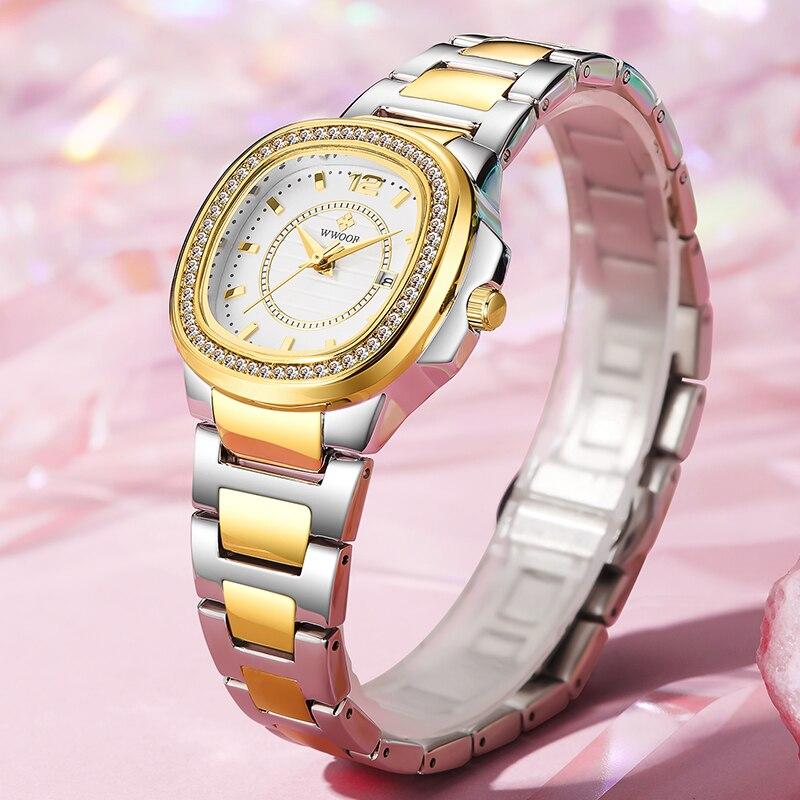 Montre Femme WWOOR Women Watches 2021 Fashion Diamond Bracelet Watches Luxury Brand Gold Ladies Quartz Watches Casual Wristwatch enlarge
