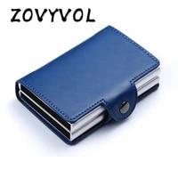 zovyvol men women credit card holder anti protect blocking rfid wallet portable id cardholder clip porte carte travel metal case
