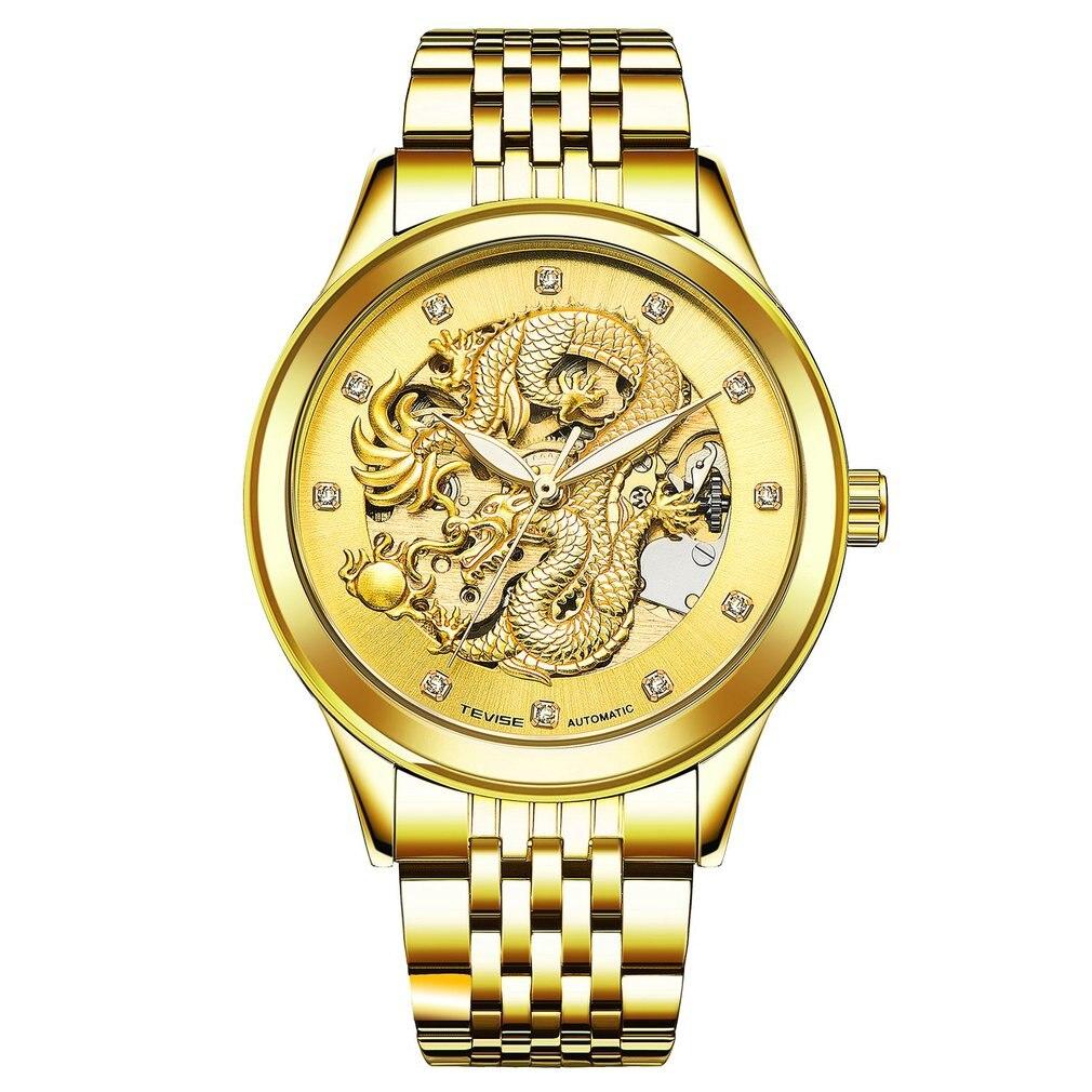 TEVISE Relógios de Ouro de Luxo Automatic Self-Vento Relógio Mecânico À Prova D Água Luminosa Relógio Masculino Relógios
