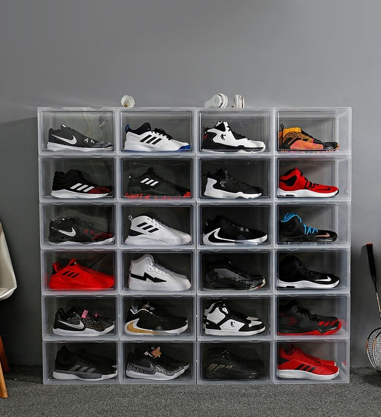 US 6-14pcs Magnetic Drop Side Shoe Box Clear Large Display Sneaker Closet Shelf Organizer Stackable Fit AJ&Jordan Sport shoes