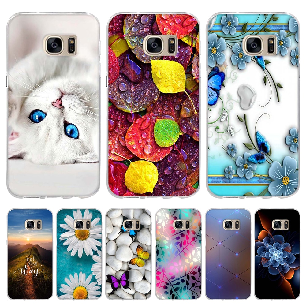 For Samsung Galaxy S5 S6 S7 Case Cover Soft Silicone TPU Flowers Patterned Coque For Samsung Galaxy