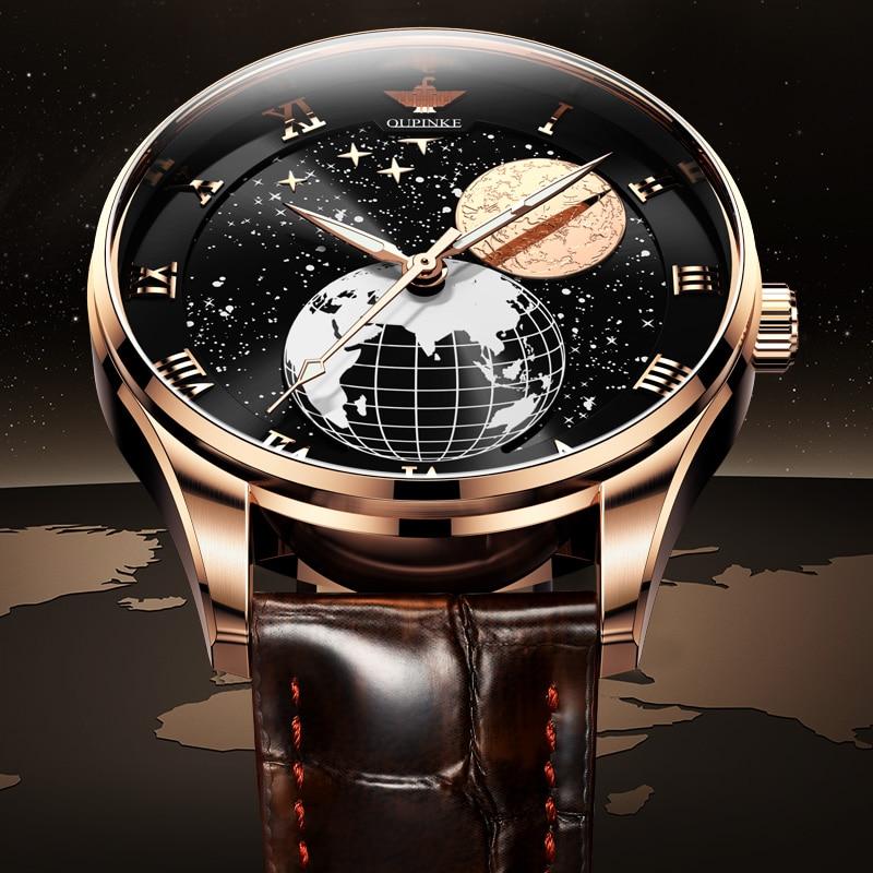 ساعات يد رجالية أوبينكي السويسرية ميكانيكية على شكل القمر ساعات يد ضد الماء أوتوماتيكية للرجال ساعات رجالية من الياقوت ريلوجيو ماسكولينو 2021