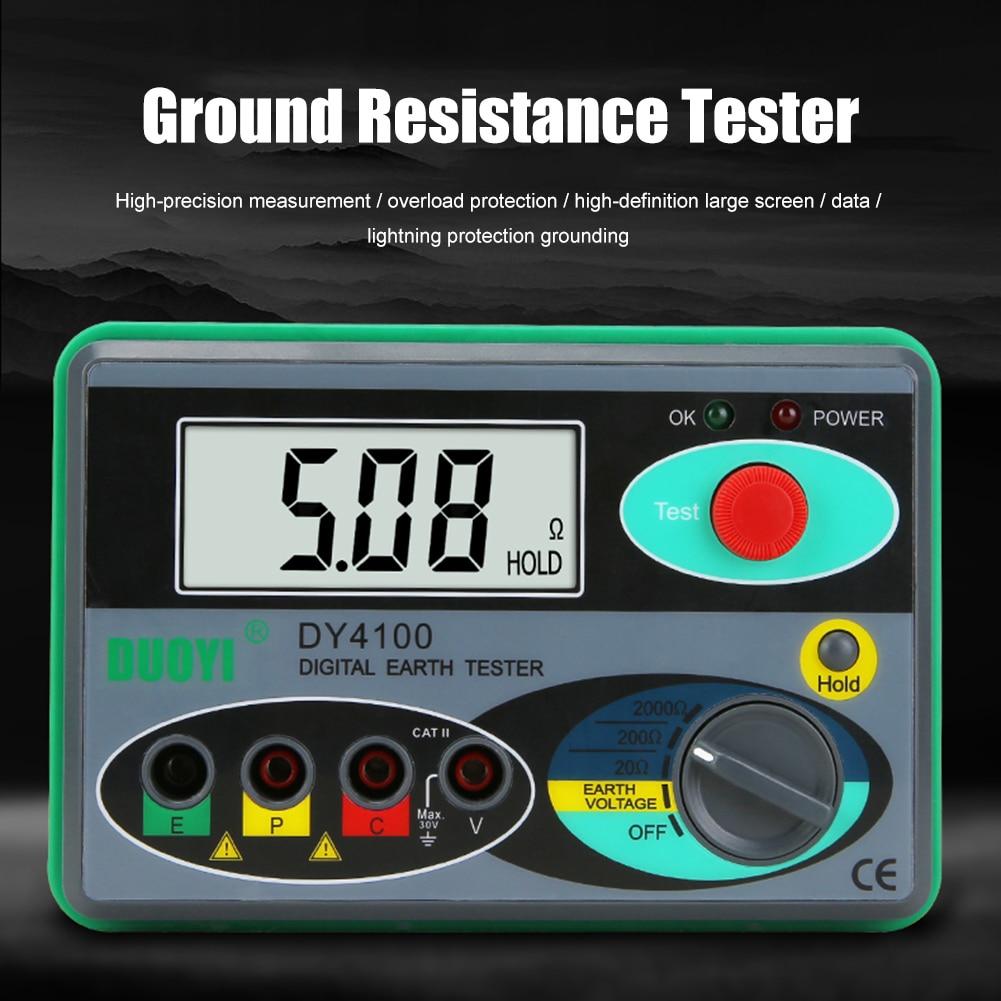 جهاز اختبار المقاومة Megger متر الرقمية Megohmmeter الأرض جهاز اختبار المقاومة الأرض 0-2000 أوم الجهد العزل