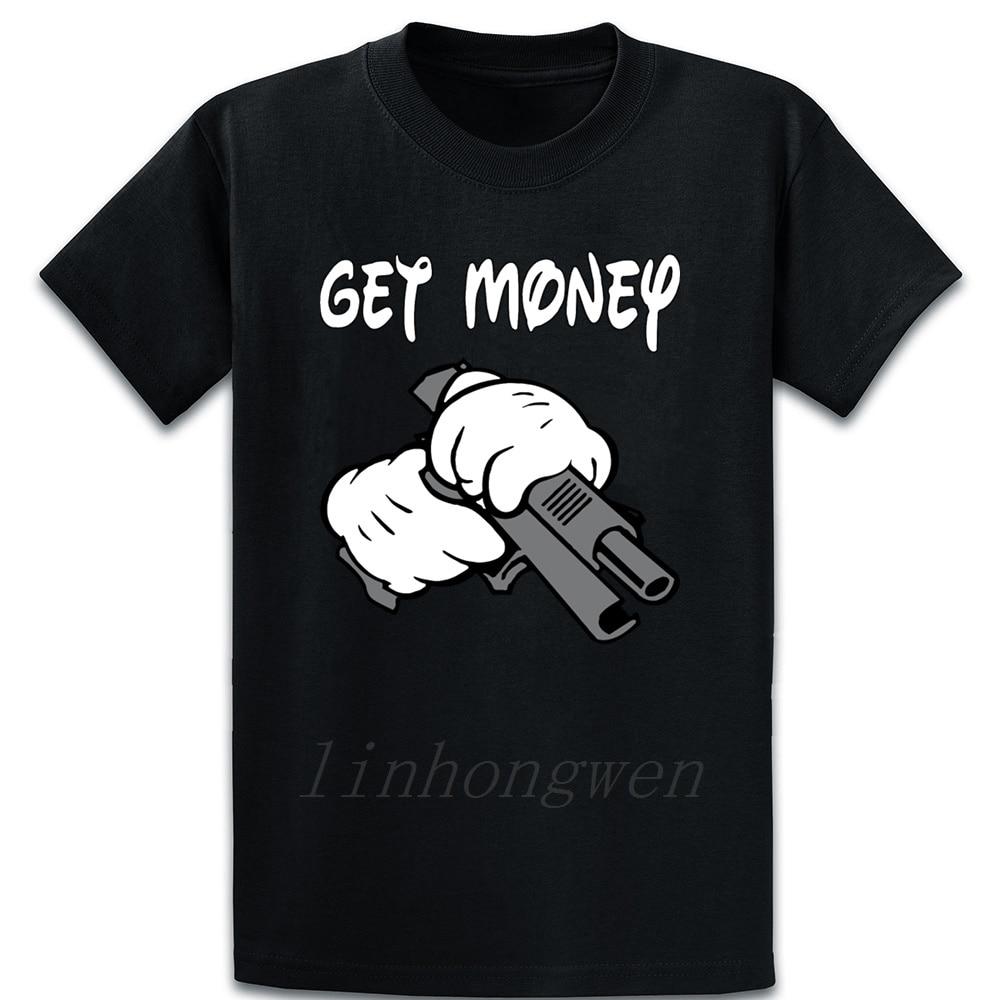 Camiseta divertida con diseño de algodón con estampado de manos y pistola Thug Swag de Get Money estilo informal de verano Kawaii talla Europea S-5xl