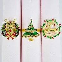 1pc christmas series napkin ring christmas tree elk metal napkin buttons for kitchen new year banquet table supplies decorations