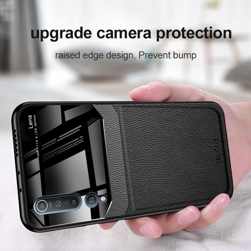 Противоударный чехол для Xiaomi Mi 10 10 Pro Mi 9T Mi Note 10 кожаный стеклянный чехол для телефона Redmi K30 K20 Note 8 Pro 8 8T 8A