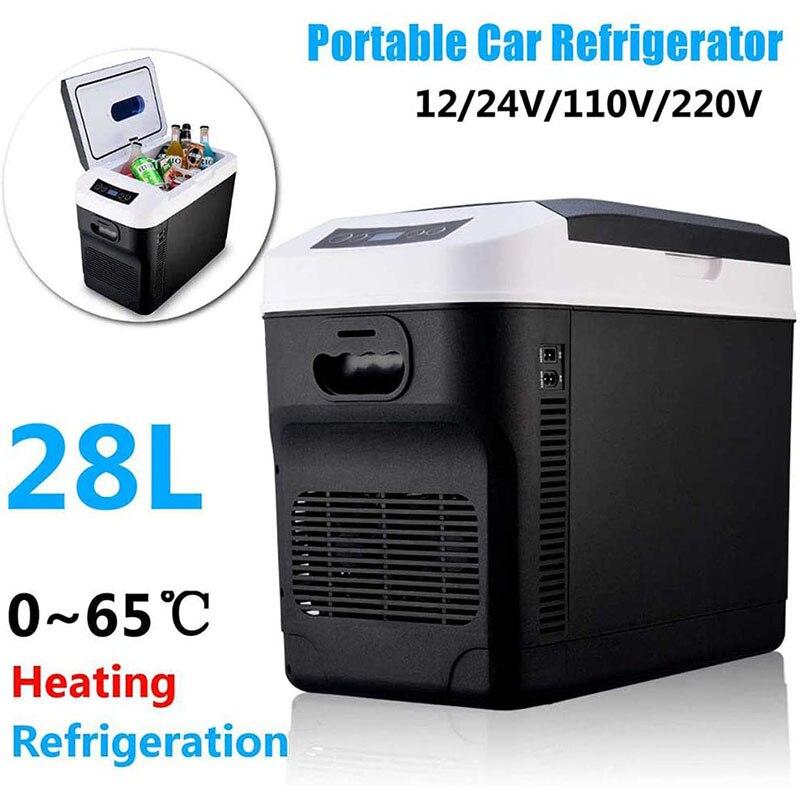 28L Mini Fridges 12/24V Car Home Dual Use Refrigerator Protable Drinks Cooler Heater for Food Drink 110/220V Outdoor Picnic